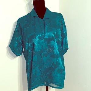 Teal Vintage Victoria Secret Polyester Pajama Top